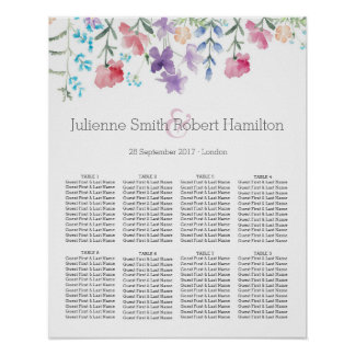 Pretty Wildflowers Beautiful Wedding Seating Chart