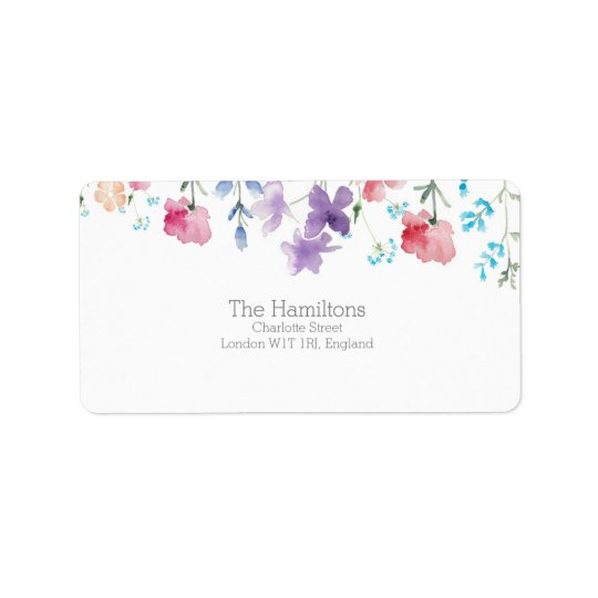 Pretty Wildflowers | Rustic Address Label