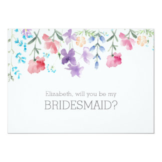Pretty Wildflowers | Rustic Bridesmaid Invitation