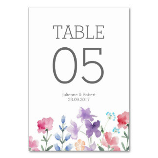 Pretty Wildflowers | Rustic Table Number Table Card