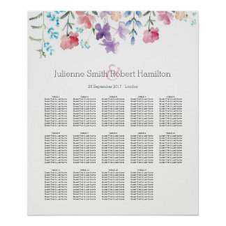 Pretty Wildflowers |  Seating Chart 14 Tables