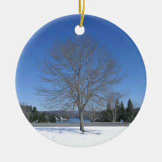 Pretty Winter Tree Ceramic Ornament