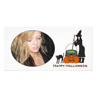 Pretty Witch Halloween Photo Card