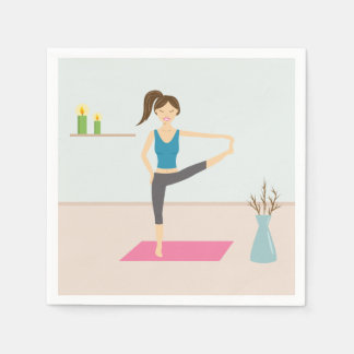 Pretty Woman Practising Yoga In A Stylish Room Disposable Serviette
