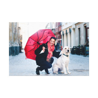 Pretty woman with golden retriever canvas print