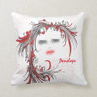 Pretty Woman's Face with Flowy Red Hair Add a Name Cushion