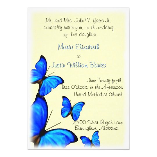 Pretty yellow and blue Wedding Invitation