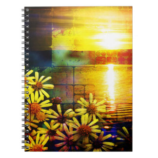 Pretty Yellow and Gold Sunflower Landscape Notebook