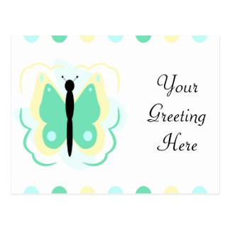 Pretty Yellow And Green Butterfly Postcard