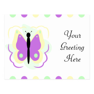 Pretty Yellow And Purple Butterfly Postcard