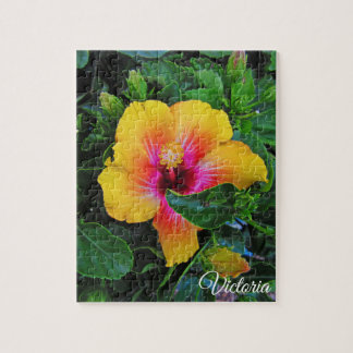 Pretty Yellow and Red Hibiscus Jigsaw Puzzle