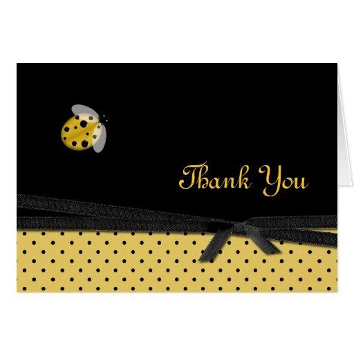 Pretty Yellow & Black Ladybug Thank You Card