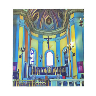 Pretty Yellow Blue Vibrant Church Altar Notepad