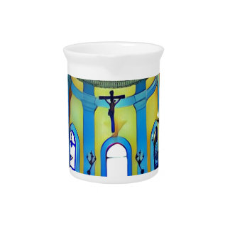 Pretty Yellow Blue Vibrant Church Altar Pitcher