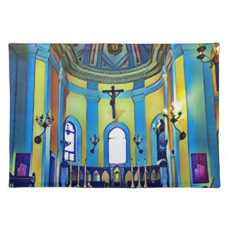 Pretty Yellow Blue Vibrant Church Altar Placemat