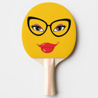 Pretty Yellow Emoji Ping Pong Paddle