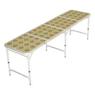 Pretty Yellow Floral Pattern Beer Pong Table