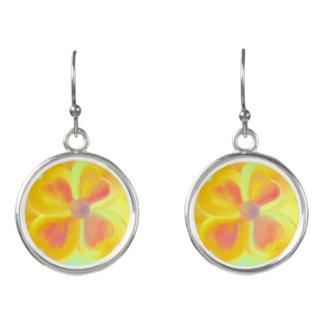 Pretty Yellow Flower Drop Earrings