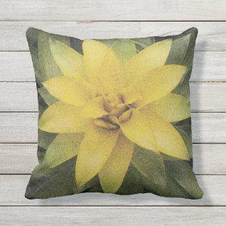 Pretty yellow flower outdoor floral throw pillow