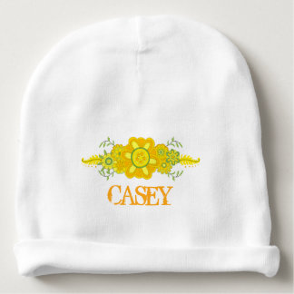 Pretty Yellow Flowers Centerpiece Name Template Baby Beanie