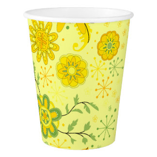 Pretty Yellow Flowers Paper Cup