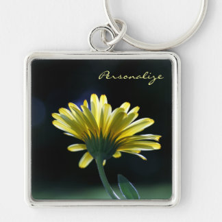Pretty Yellow Gerber Daisy Flower With Name Silver-Colored Square Key Ring