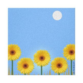 Pretty Yellow Gerbera Daisies in a Row II Gallery Wrap Canvas