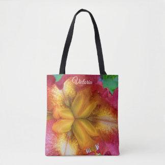 Pretty Yellow-Red Iris Tote Bag