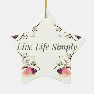 Pretty Yellow Rose Lifestyle Quote Ceramic Ornament