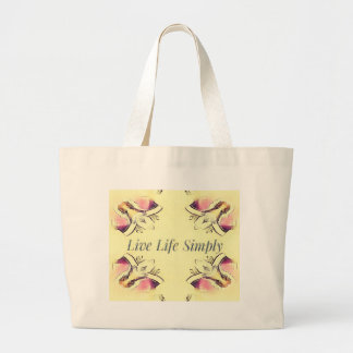 Pretty Yellow Rose Lifestyle Quote Large Tote Bag