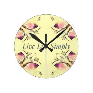 Pretty Yellow Rose Lifestyle Quote Round Clock