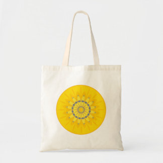 Pretty Yellow Summer Daisy Flower Mandala Circle Bag
