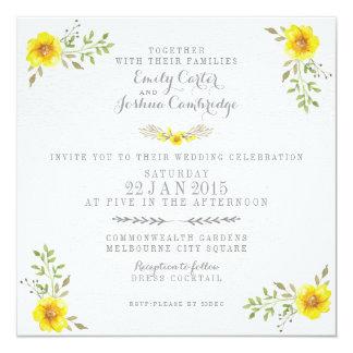 Pretty Yellow Watercolor Floral Wedding 13 Cm X 13 Cm Square Invitation Card