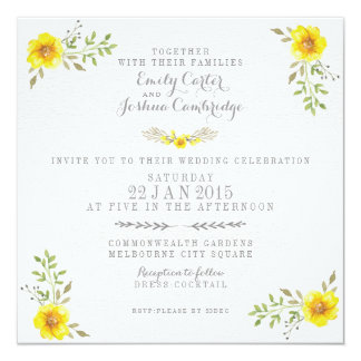 Pretty Yellow Watercolor Floral Wedding Card
