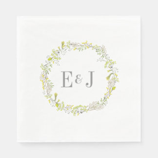 Pretty Yellow Watercolor Floral Wedding Paper Napkins