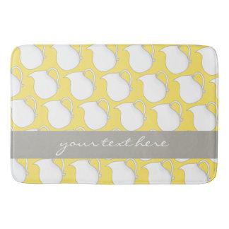 Pretty yellow white vase pattern bath mat