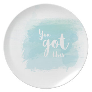 Pretty You got this blue calligraphy watercolor Dinner Plates
