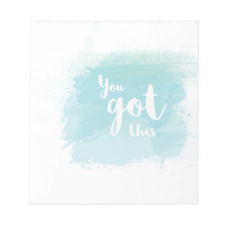 Pretty You got this blue calligraphy watercolor Notepad
