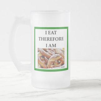 pretzel frosted glass beer mug