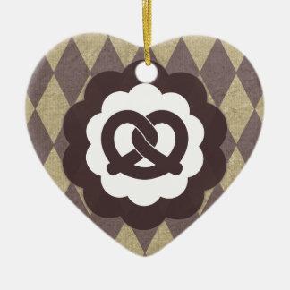 pretzel vintage ceramic heart decoration