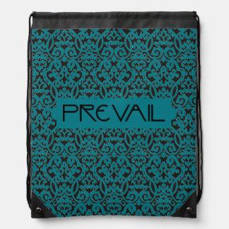 Prevail on Teal and Black Damask Drawstring Bag