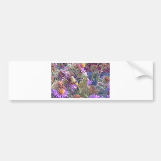 Preying Mantis  & Purple Cone Flowers Bumper Sticker