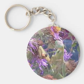 Preying Mantis  & Purple Cone Flowers Key Ring