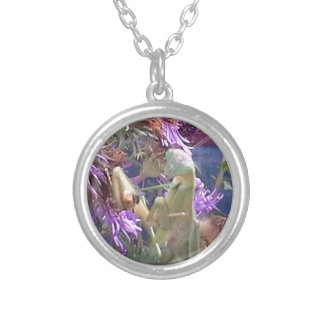 Preying Mantis  & Purple Cone Flowers Silver Plated Necklace