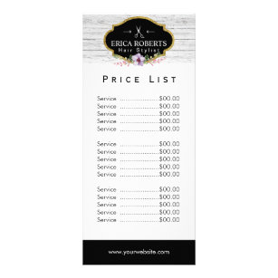Price List | Hair Stylist Vintage Floral & Wood Rack Card