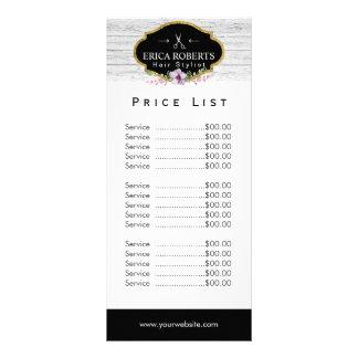 Price List | Hair Stylist Vintage Floral & Wood Rack Card