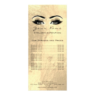 Price List Lashes Extension Makeup Artist Gold Lux Rack Card
