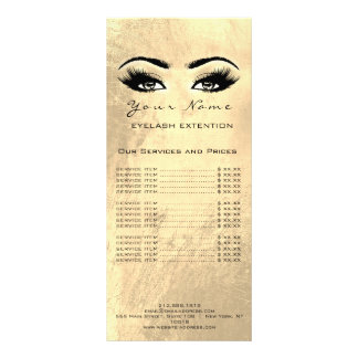 Price List Lashes Extension Makeup Artist Golden Rack Card