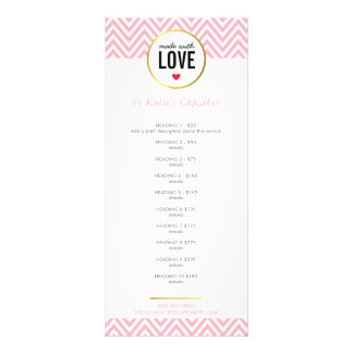 PRICE LIST made with love modern pink chevron Personalised Rack Card