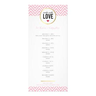 PRICE LIST made with love modern pink chevron Rack Card